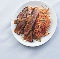Thai-Style Sirloin Steak with Red Curry Sauce and Spicy Carrot Salad recipe