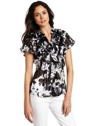 Jones New York Women's Flutter Sleeve Blouse
