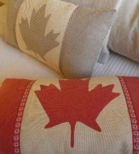 hand printed dove grey Canadian flag cushion cover. $76.00, via Etsy.