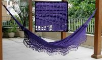This purple crochet hammock was up for sale on eBay.