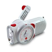 Includes 3-LED hand crank flashlight and cell phone charger.