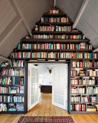 floor to ceiling bookshelves. In a couple years this will be our living room.