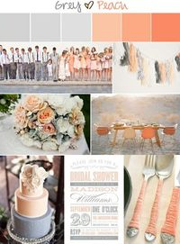 Wedding Inspirations | Peach and Grey Inspiration Board