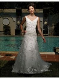 V-neck Lace Chapel Train A-line Wedding Dress(AUSTVNECK0094)