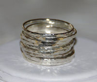 Rustic & Organic Sterling Silver Hammered Textured Stackable Rings