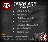 DAY 14: TAMU Welcome to the SEC, Aggies!