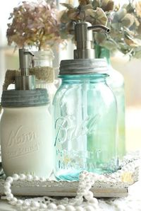 Making soap dispensers out of mason jars is such a great idea.