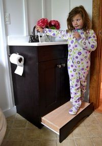 Pull out step in the bathroom...genius.