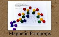 Magnetic pompom activities with links for B/W and color printables