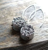 Silver Druzy Earrings $20