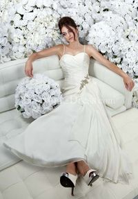 A-Line Sweetheart Floor Length Attached Chiffon Beading - Another view of the same dress