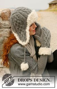 Free knitting pattern for a fur trimmed hat and mittens