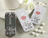 """Mint to Be"" Bride and Groom Slide Mint Tins with Heart Mints."