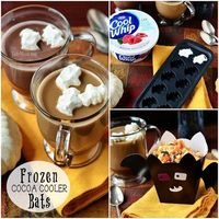 Frozen Cocoa Cooler Bats & Monster Munch Popcorn. Use a silicone mold and cool whip to cool off their Hot Chocolate! #recipe at TidyMom.net