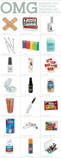 Wedding Day Emergency Kit band-aids breath mints clear nail polish bobby pins tissues deodorant nail polish lotion asprin compact mirror hair spray antacid straws lint roller snacks eye drops safety pins stain remover water static guard sewing kit and a c...