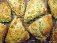 Savory cheese and scallion scones with feta and cream cheese - and no butter! These mix together quickly and taste great on their own or as little sandwiches. They also freeze beautifully.
