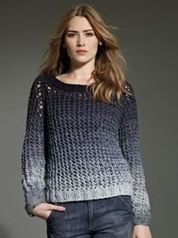 Like ombre dyes, only this gradient is achieved by double strand knitting across four yarn colors. Rowan Studio 26