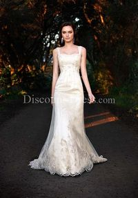 A-Line Strapless Floor Length Attached Angel Satin Beading/ Lace Wedding Dress style 11039 - - US$209.99