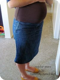 DIY maternity skirt from old pair of jeans! Why didnt I see this a few months ago!
