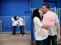 gender reveal at the fair with pink or blue cotton candy :-) love!