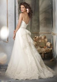 A-Line Strapless Floor Length Attached Silk Organza Embroidery Wedding Dress Style JH8002