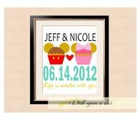 Disney Mickey and Mickey Cupcake Wedding Anniversary Date - Printable Art. $10.00, via Etsy.
