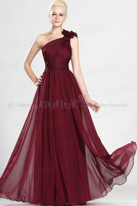 Free shipping Evening Dresses Sheath/Column Chiffon One shoulder Slender Floor-length Flower Drape at duduta.com