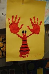 Lobster art with hand and foot print