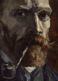 Self-portrait with pipe (detail), van Gogh, 1886 �