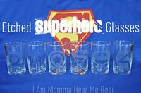 Etched Super Hero Glasses