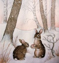 Rabbits in Snow - unknown