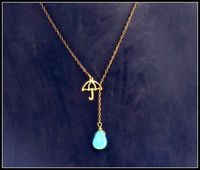 umbrella necklace with turquoise drop