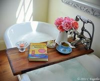 plank across tub for coffee,book,flowers,etc