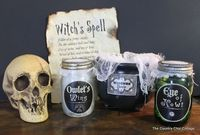 Macbeth Halloween Decor, with witch's spell paper and potion labels