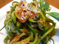 My Big Fat Grain Free Life: Zoodles with Roasted Tomatoes and Basil Pesto