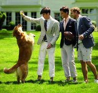 Boys + golden retriever= perfection