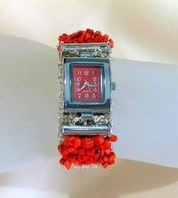 Crocheted wire-coral watch.