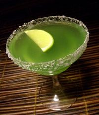 Just add green food coloring to that pre-existing margarita mix, if you still have it.