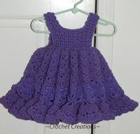 Crochet Creative Creations- Free Patterns and Instructions: Crochet Newborn thru 12 month old Frilly Dress
