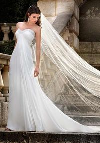 Strapless Floor Length Attached Chiffon Beading Wedding Dress Style D1040