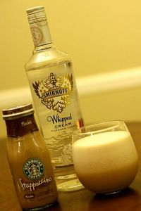 Starbucks Frappuccino blended with ice and Whipped Cream Vodka. Yes please!!!