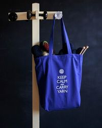 Canvas Knitting/Crochet Tote Keep Calm and Carry by jenniegee, $16.00