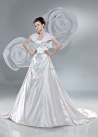 2011 A-line wedding dressfeatures v-neck with lace butterfly sleeves. Fluid satin dress with glistening beading encircles the waist. Free made-to-measurement service for any size. Available colors seen as in Color Options.