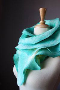 Felted scarf wool ruffled Frosted Green / by VitalTemptation, $79.00
