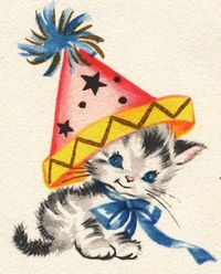 Vintage illustration kitten with party hat by B-Kay,