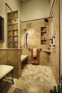 Walk in shower. love the built in bench,cubby and corner shelf