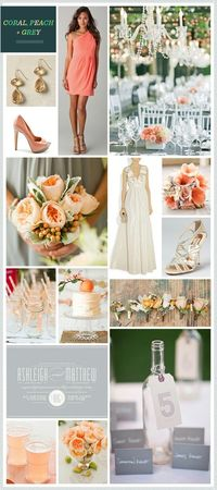 Coral, peach & grey inspiration