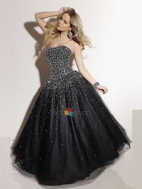 Strapless Black Tulle Taffeta Ball Gown Quinceanera Dress for Girls of Long Style 199.99