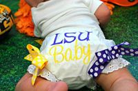 LSU Football Diaper Cover Bloomers ...Louisiana State University or your team colors...Sizes 0-6, 6-12, 12-18, 18-24 Months, 3T, 4T. $16.99, via Etsy.