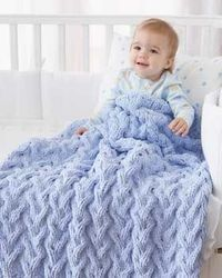 Shadow Cable Baby Blanket free knitting pattern